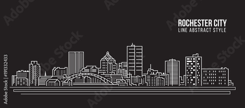 Cityscape Building Line art Vector Illustration design - Rochester city - 191332433