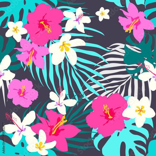Vector seamless tropical pattern, vivid tropic foliage, with monstera leaf, palm leaves, plumeria flowers, hibiscus in bloom. Modern bright summer digital flat print design