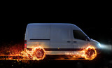 Super fast delivery of package service with van with wheels on fire - 191334684