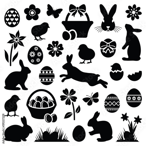 Easter eggs - hares - chicks and flowers collection - vector silhouette - 191337209