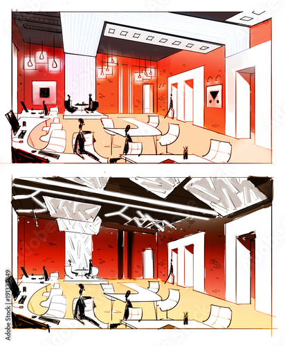 Drawing of the interior. Graphic illustration in color
