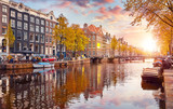 Channel in Amsterdam Netherlands houses river Amstel landmark - 191341211