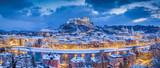 Twilight panorama view of Salzburg in winter, Salzburger Land, Austria - 191342244