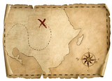 Treasure Pirates' Old Map  3d Illustration  Light Direction From Right Wall Sticker