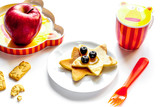 concept kid breakfast with pancake on white background - 191346456