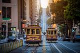 San Francisco Cable Cars on California Street at sunrise, California, USA