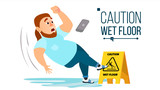 Man Slips On Wet Floor Vector. Modern Businessman. Situation In Office. Danger Sign. Clean Wet Floor. Isolated Flat Cartoon Character Illustration - 191354427