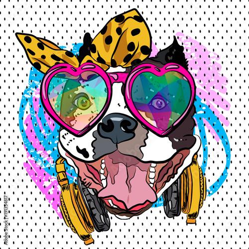 In de dag Art Studio Cartoon dog print. Fun poster. Sketch vector comic portrait. Cool girl.
