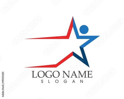 Fotobehang Abstractie Star faster people icon logo design