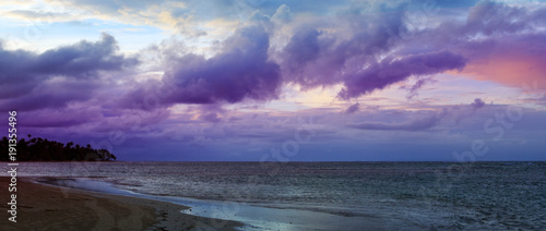 Fotobehang Strand Caribbean sunset on tropical beach.