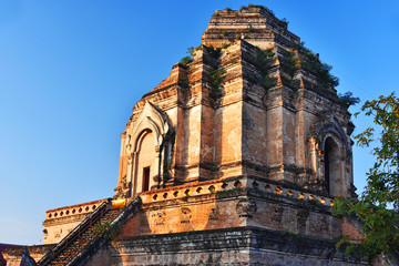 Wat Chedi Luang, a Buddhist temple in Chiang Mai, Thailand