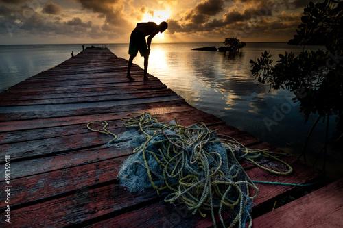 Fotobehang Strand Sunset Fishing Belize