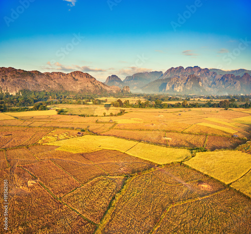 Foto op Canvas Oranje Aerial view of the fields and mountain. Beautiful landscape. Laos.
