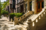 Brownstones with doorsteps and ornament in morning light. Upper West Side Street, Manhattan, New York City - 191364095