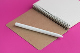 Top view of open notebook with fountain pen on pink background