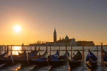 Venice Italy gondolas at sunrise light
