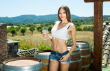 woman drinking wine outdoors - 191378686
