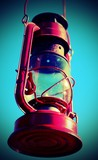 old red lantern and neutral blue background with vintage effect - 191379432