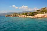 Sunken city of Kekova island in Turkey. Sights of Antalya province - 191379469