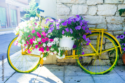 Plexiglas Fiets charming street decoration - old bike with flowers