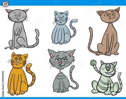 Fototapeta funny cartoon cats characters set