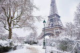 Scenic view to the Eiffel tower on a day with heavy snow