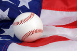 american flag and a baseball sports concept background - 191391815