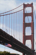 American flag in front of Golden Gate Bridge