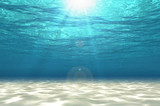 Abstract under sea background, white sand with sun ray for your design. Digital generating image. 3D illustration. - 191396687