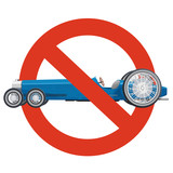 Prohibition of overly long car. Strict ban on construction of limousine, forbid. Stop long vehicles. Blue car, isolated on white background. Historical master vector illustration.