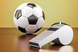Football ball with whistle on the wooden table, 3D rendering - 191400645
