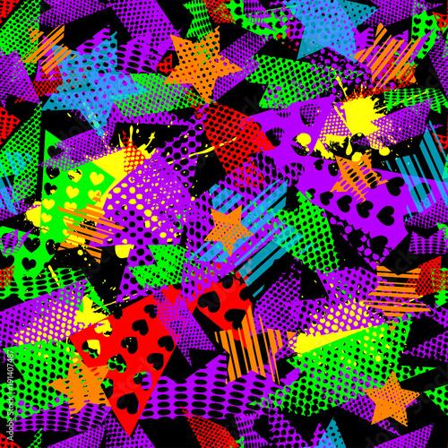 wzor-tapety,-abstrakcja,-kolorowe-serca,-kropki,-gwiazdy