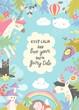 Cute magic frame composed of unicorns,dragon,princess and flowers