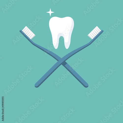 Healthy tooth between two cross toothbrushes. Brush teeth. Dentistry symbol. Illustration flat design. Isolated on white background. Sign of good oral hygiene.