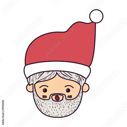 santa claus kawaii face surprised expression with christmas hat on colorful silhouette vector illustration - 191416016