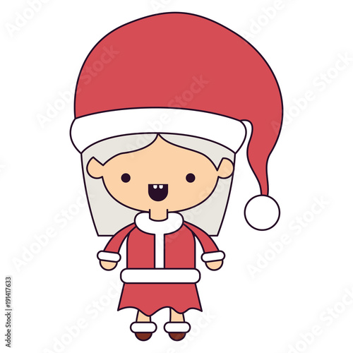 santa claus woman cartoon full body face mouth open expression colorful silhouette on white background vector illustration - 191417633