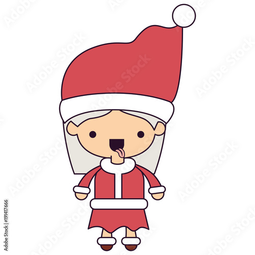 santa claus woman cartoon full body face tongue out expression colorful silhouette on white background vector illustration - 191417666