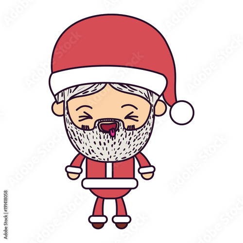 santa claus man kawaii full body cartoon smiling with tongue out expression with hat and costume on colorful silhouette - 191418058