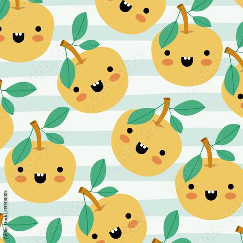 orange kawaii fruits pattern set on decorative lines color background vector illustration