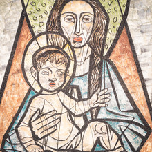 "Постер, картина, фотообои ""Virgin Mary with baby Jesus painted on a wall of the ancient cemetery of San Candido."""