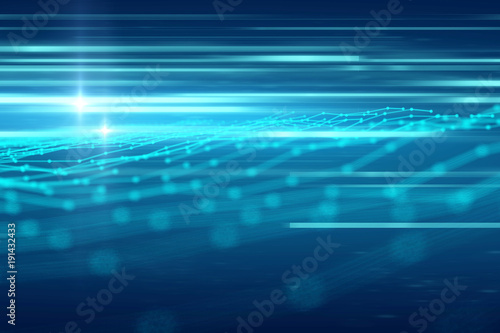Wall mural blue geometric  shape abstract technology background