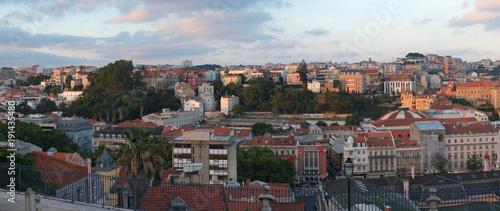 Poster Panoramafoto s The panoramic view of the city from the terrace of San Pedro de Alcantara. Lisbon. Portugal