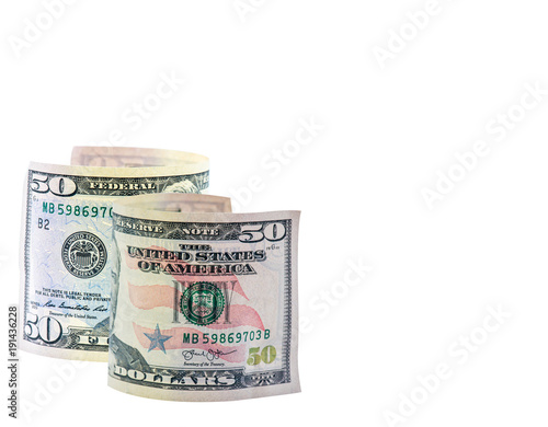 US Dollar currency, Banknotes of America, money and finance, isolated on white with path