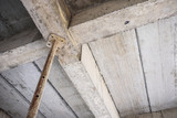 building under construction with iron steel support concrete beams - 191440445