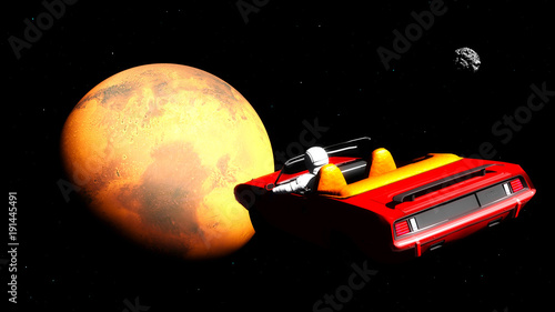 Foto op Canvas Heelal The car in space