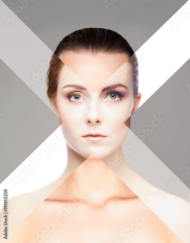 Keuken foto achterwand Spa Perfect female face made of different faces. Plastic surgery concept.