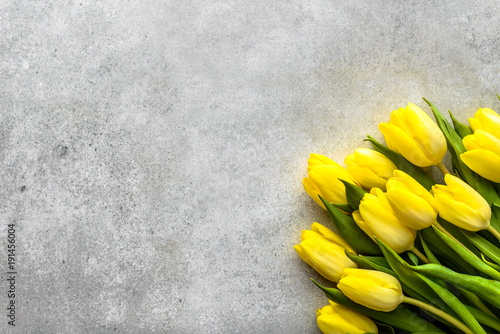 Easter background with spring tulips, bouquet for mothers day or flowers for women's day at 8 march