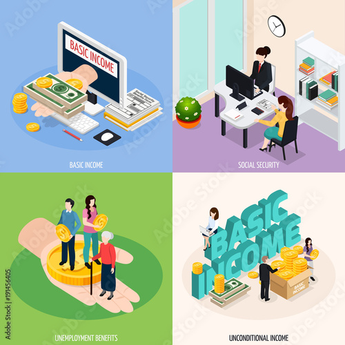 Social Security Concept Icons Set