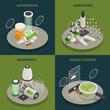 Nanotechnology 4 Isometric Icons Concept