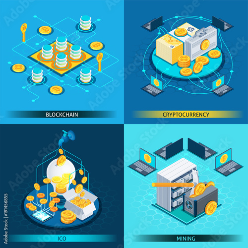 Foto op Canvas Hoogte schaal Blockchain Cryptocurrency Isometric Design Concept